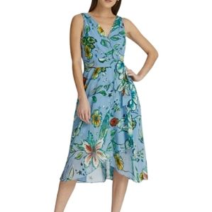 DKNY Floral Chiffon Wrap Belted Dress 10 Blue NWT